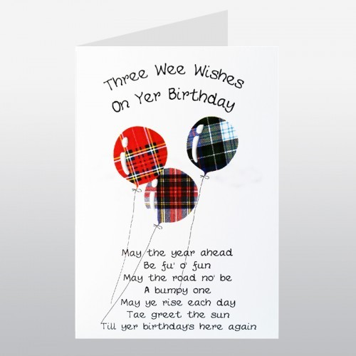 Happy Birthday Balloons Scottish Birthday Card