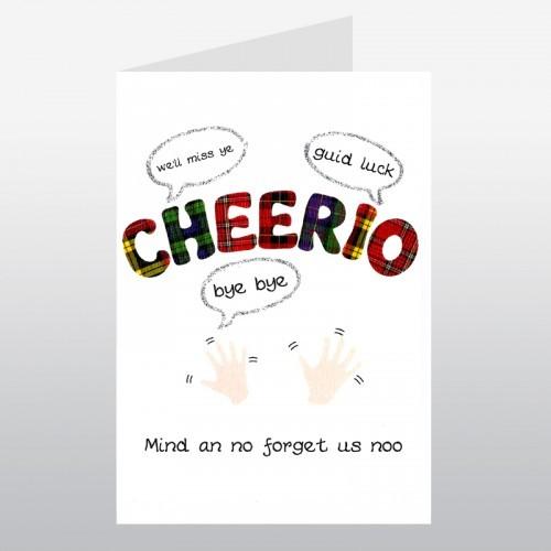 cheerio scottish goodbye card cards niche