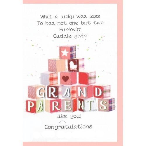 Scottish Tartan New Granddaughtergrandparents Card Blocks Cards